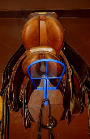 Saddles stock photo, Two saddles on a rack in a tack room, horseback riding equipment by Elena Elisseeva