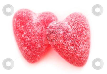 Candy hearts stock photo, Sugar candy Valentine's hearts isolated on white background by Elena Elisseeva