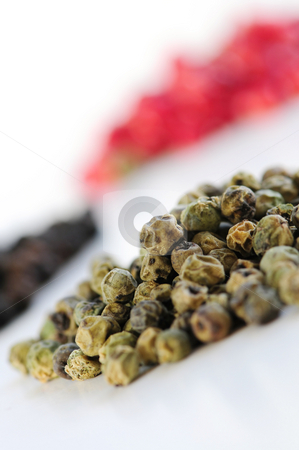 Assorted peppercorns stock photo, Heaps of assorted peppercorns on white background by Elena Elisseeva