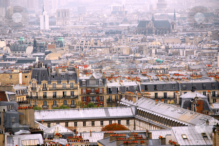 Paris rooftops stock photo, Scenic view on Paris rooftops and cathedrals by Elena Elisseeva