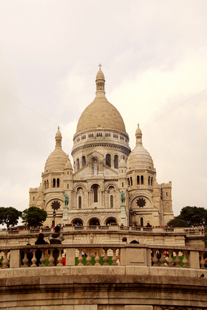 Sacre-Coeur Basilica stock photo, View on the Sacre-Coeur Basilica in Paris, France by Elena Elisseeva