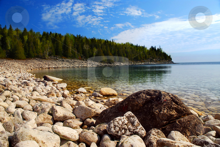 Lake landscape stock photo, Clear waters of Georgian Bay at Bruce peninsula Ontario Canada by Elena Elisseeva