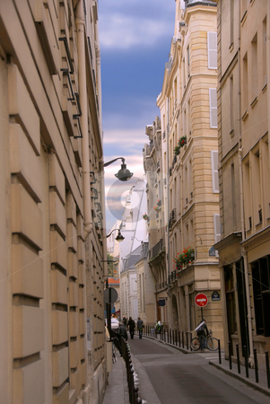 Paris street stock photo, Narrow street of Paris France with blue sky by Elena Elisseeva