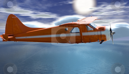 Freedom stock photo, A small plane flying high in the sky with the sun in the background by Richard Nelson