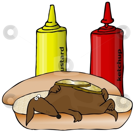 Wiener Dog stock photo, This illustration depicts a small dachshund laying on a hot dog bun with pickles on its chest. by Dennis Cox