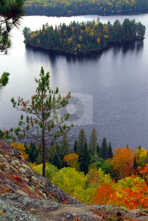 Lake scenery stock photo, Scenic view of a lake and islands in Algonquin provincial park Ontario Canada from hill top by Elena Elisseeva