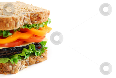 Sandwich stock photo, Big healthy sandwich with vegetables and meat close up on white background with copy space by Elena Elisseeva