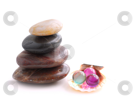 Spa stock photo, Stack of balanced stones with bath beads isolated on white background by Elena Elisseeva