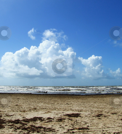 Horizon stock photo, Clouds, sky, surf, and beach meet along the horizon by Marburg