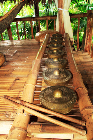 Brass gong instrument stock photo, A row of brass gong percussion  instrument also known as kulintang by Jonas Marcos San Luis