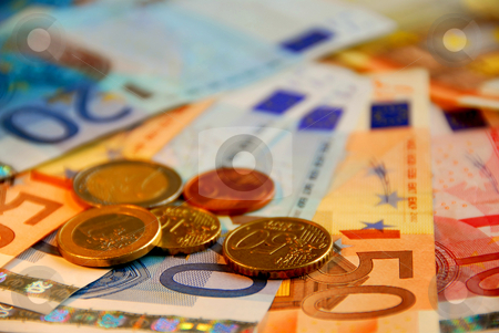 Euro money stock photo, Background of bills and coin of european union currency, shallow dof by Elena Elisseeva