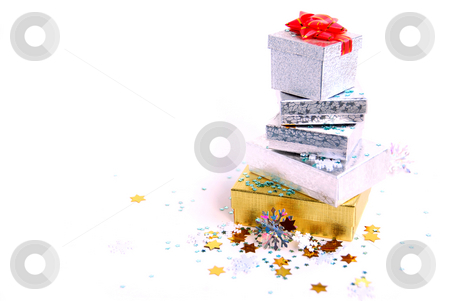 Chrismas boxes stock photo, Christmas gift boxes on white background by Elena Elisseeva