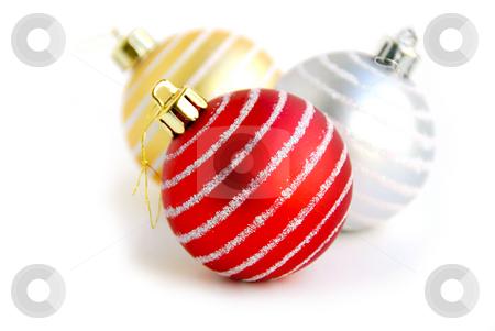 Christmas ball stock photo, Three christmas glass balls on white background by Elena Elisseeva