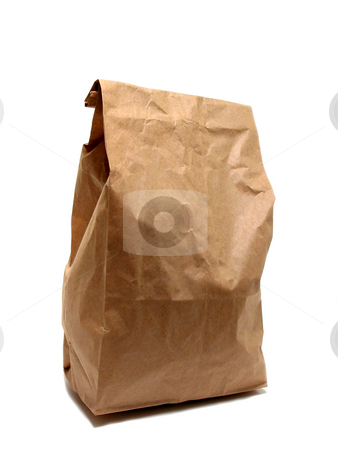 Lunch bag paper  stock photo, Brown paper lunch bag isolated on white background by Elena Elisseeva