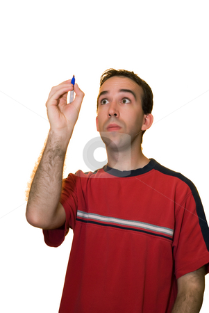 Man Writing Your Text stock photo, A young man wearing a red shirt, writing your text on a piece of glass in front of him by Richard Nelson