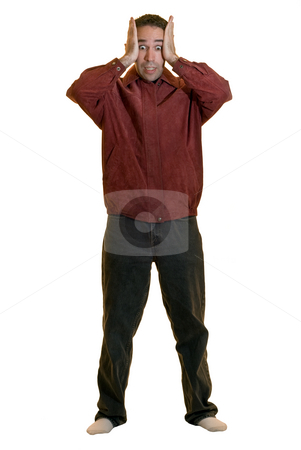 Anxiety stock photo, Full body view of a young man experiencing anxiety, isolated on a white background by Richard Nelson