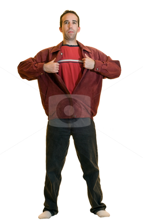 Super Dad stock photo, A young male ripping open a red jacket pretending to be a super hero, isolated on a white background by Richard Nelson