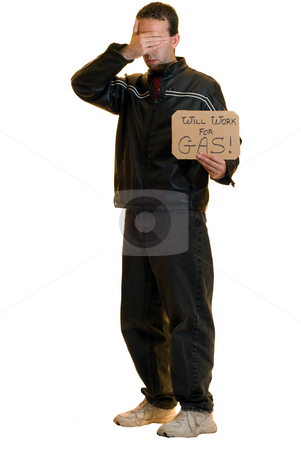 Shy Beggar stock photo, A shy beggar covering his eyes and holding a sign, isolated on a white background by Richard Nelson