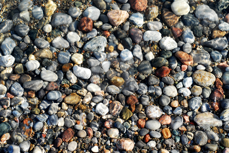Pebbles under water stock photo, Colorful pebbles in the shallow clearest water on the beach with sun reflections by Elena Elisseeva