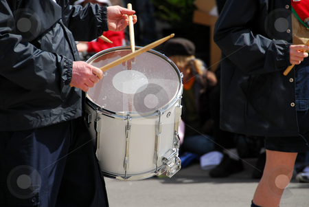 Marching band drums stock photo, Marching band playing drums by Elena Elisseeva