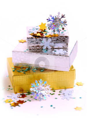 Christmas boxes stock photo, Christmas gift boxes on white background by Elena Elisseeva