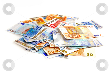 Euro pile stock photo, Pile of european currency bills isolated on white background by Elena Elisseeva