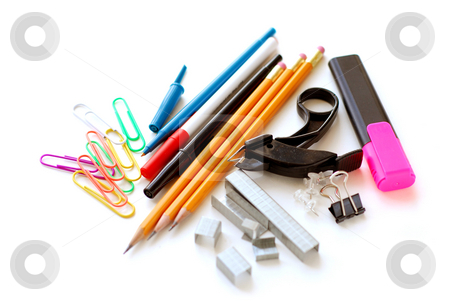 School office supplies on white stock photo, School or office supplies on white background by Elena Elisseeva