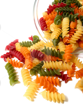 Tricolor pasta on white stock photo, Colorful dry pasta in a jar on white background by Elena Elisseeva