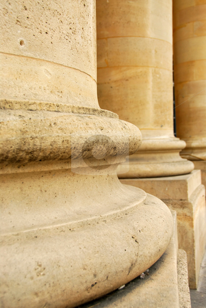 Columns stock photo, Closeup of row of stone columns in perspective by Elena Elisseeva