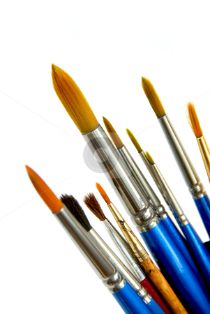 Paintbrushes on white stock photo, Paintbrushes on white background by Elena Elisseeva