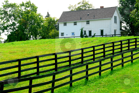 Farmhouse stock photo, Farmhouse with fence among green fields by Elena Elisseeva