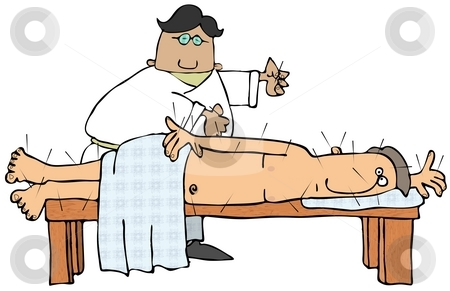 Acupuncture Doctor stock photo, This illustration depicts a health care professional applying acupuncture needles to a patient lying on a bench. by Dennis Cox