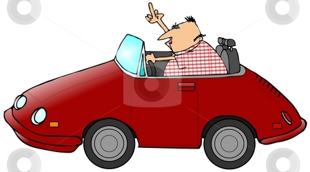 Road Rage stock photo, This illustration depicts a man driving a red convertible sports car and flipping the bird. by Dennis Cox