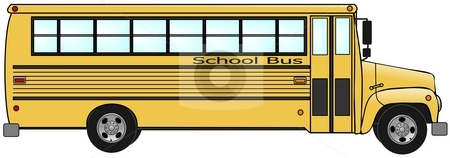 School Bus stock photo, This illustration depicts the profile of a yellow school bus. by Dennis Cox