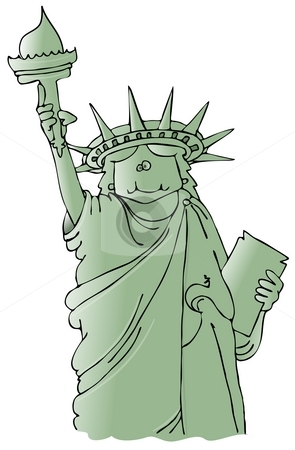 Statue Of Liberty stock photo, This illustration depicts a cartoon Statue of Liberty. by Dennis Cox