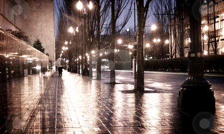 Misty Morning stock photo, Sidewalks shimmer from a morning drizzle. by Nathan Smith