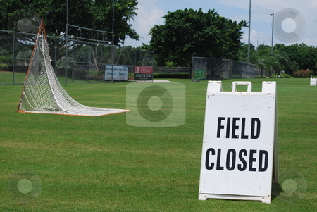 Soccer field Closed stock photo, Closed sign on soccer field in a park by Robert Cabrera
