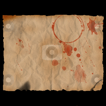 Ancient burned paper with blood stains - digital illustration stock photo, Ancient burned paper with blood stains - digital illustration by Marko Vesel