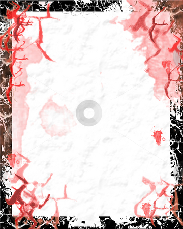 Bloody paper with grunge border - digital illustration stock photo, Bloody paper with grunge border - digital illustration by Marko Vesel