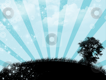 Blue sunrise - digital illustration stock photo,  by Marko Vesel