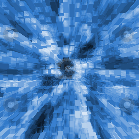Blue blocks in 3-d background - digital illustration stock photo,  by Marko Vesel