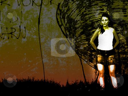 Fatal lady by the graffiti wall stock photo,  by Marko Vesel