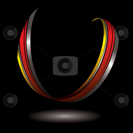 Horseshoe ribbon stock photo, Single piece of ribbon floating with its own light shadow by Michael Travers
