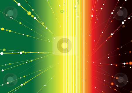 Rasta glow stock photo, Abstract space image with radiating balls streaking out by Michael Travers