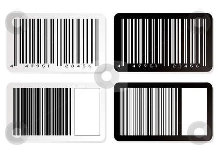 Barcode variation stock photo, Barcode illustration label in negative with drop shadow by Michael Travers