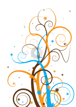 Modern tree stock photo, Abstract floral tree design with a modern twist in subtle colors by Michael Travers