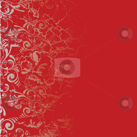 Burnt tile stock photo, Red and silver tile background with a floral design by Michael Travers