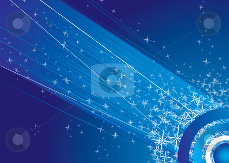 Shooting sky stock photo, Abstract space image with shooting stars in blue and white by Michael Travers