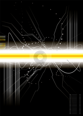 Burst circuit stock photo, Technical background illustration with copy space in black by Michael Travers