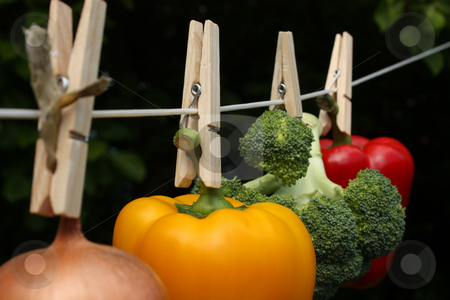 How Clean Is Your Food? stock photo, A concept shot relating to organic and healthy eating, and chemical and pesticide use.  A yellow bell pepper, a red bell pepper, an onion, and a head of broccoli hung on a clothesline with wooden pegs. by Jessica Tooley